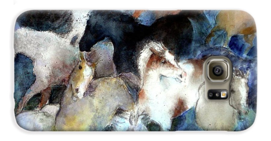 Horses Galaxy S6 Case featuring the painting Dream Of Wild Horses by Christie Michelsen
