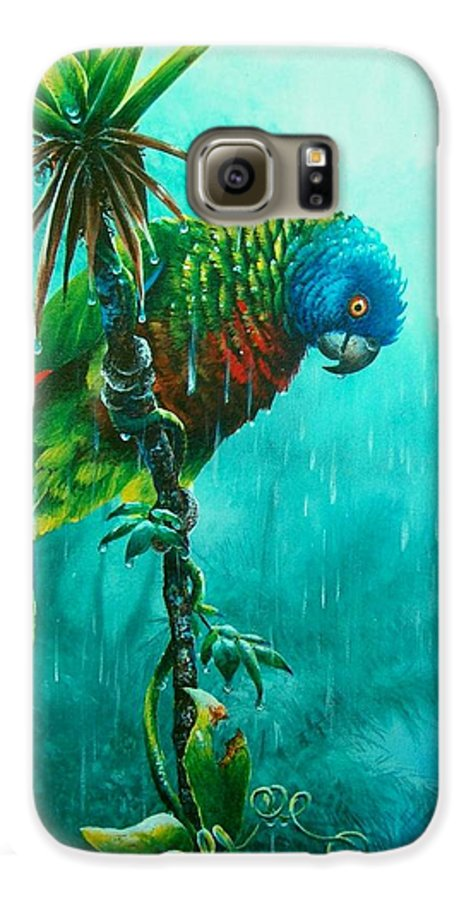 Chris Cox Galaxy S6 Case featuring the painting Drenched - St. Lucia Parrot by Christopher Cox