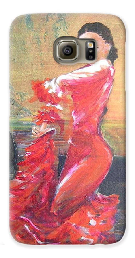 Gypsy Flamenco Dancer. Spanish Dancer Galaxy S6 Case featuring the painting Duende by Lizzy Forrester