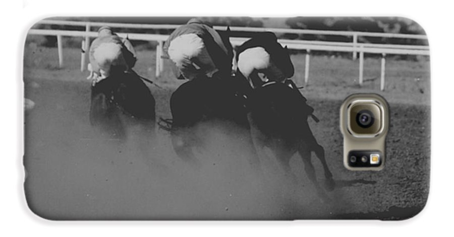 Horse Galaxy S6 Case featuring the photograph Dust And Butts by Kathy McClure
