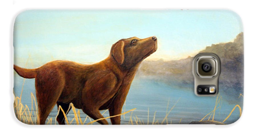 Chocolate Lab Painting Galaxy S6 Case featuring the Dutch by Rick Huotari