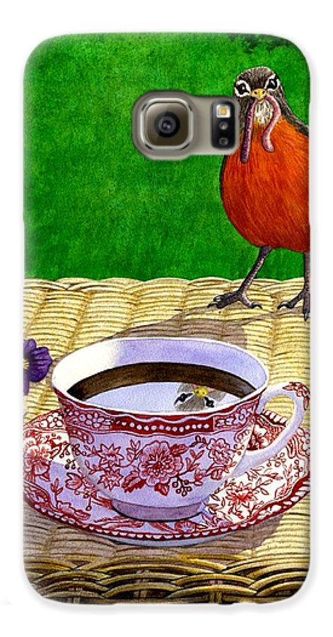 Robin Galaxy S6 Case featuring the painting Early Bird by Catherine G McElroy