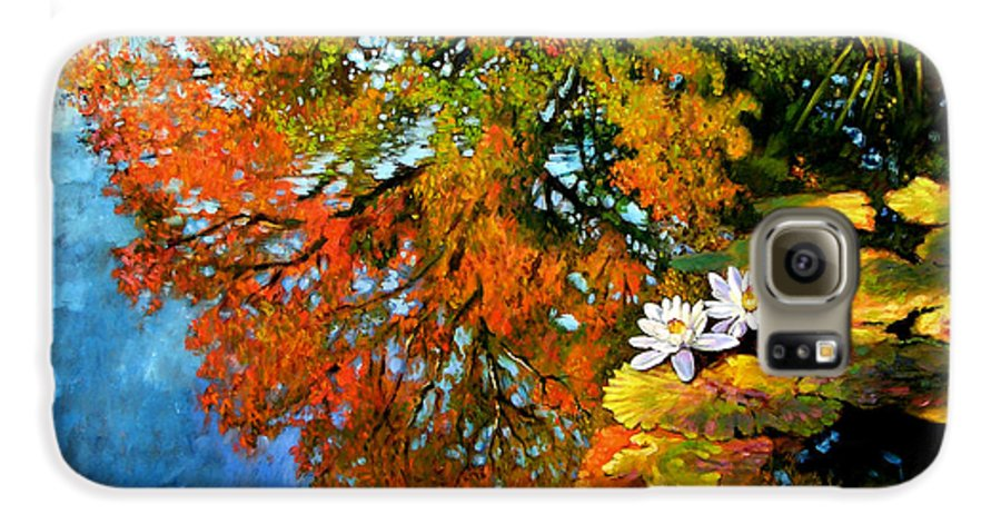 Landscape Galaxy S6 Case featuring the painting Early Morning Fall Colors by John Lautermilch