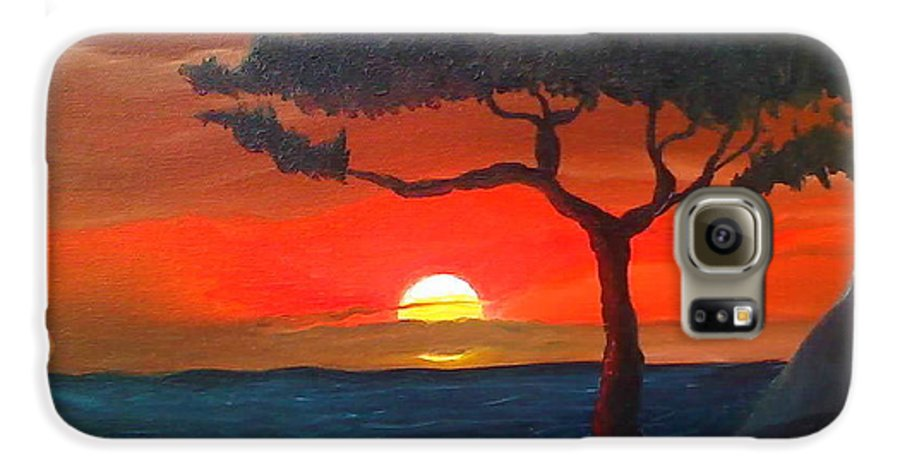 Africa! Galaxy S6 Case featuring the painting East African Sunset by Portland Art Creations