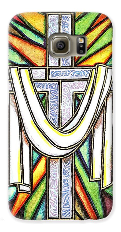 Cross Galaxy S6 Case featuring the painting Easter Cross 5 by Jim Harris
