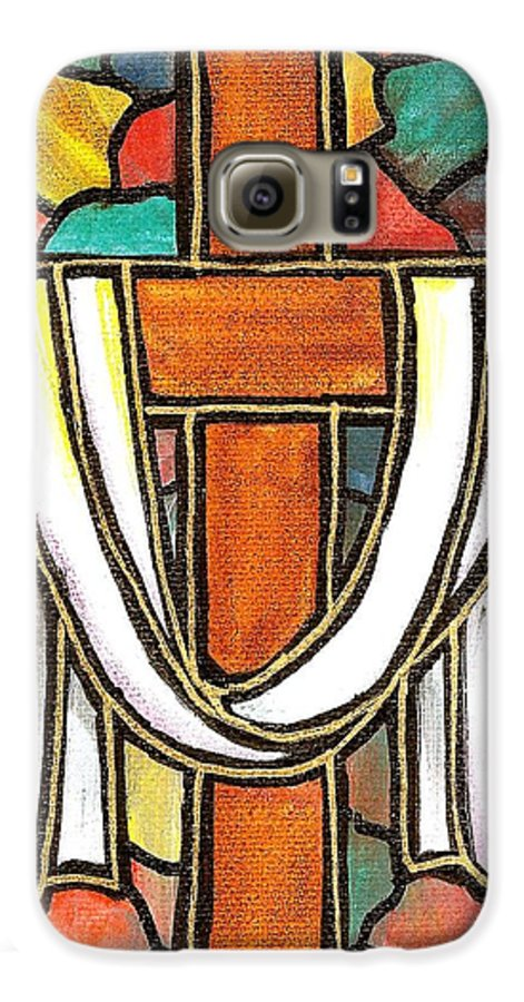 Easter Galaxy S6 Case featuring the painting Easter Cross 6 by Jim Harris