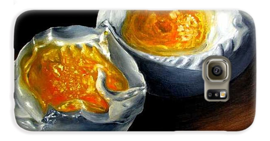 Eggs Galaxy S6 Case featuring the painting Eggs Contemporary Oil Painting On Canvas by Natalja Picugina