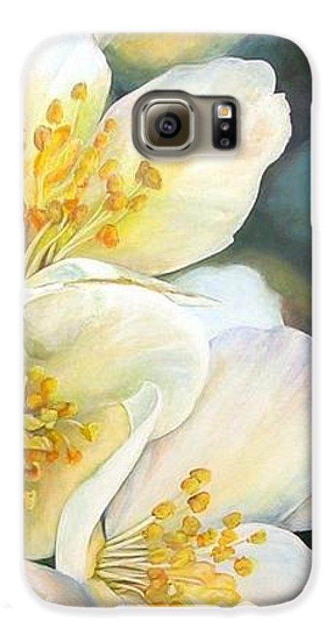 Floral Painting Galaxy S6 Case featuring the painting Eglantine by Muriel Dolemieux
