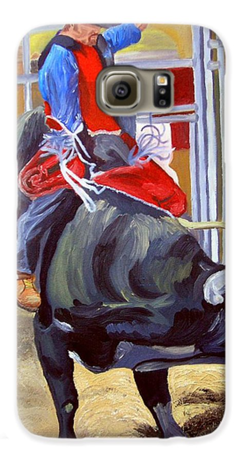 Bull Riding Galaxy S6 Case featuring the painting Eight Long Seconds by Michael Lee