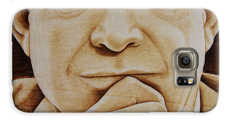 Pyrography; Portrait;; President; Sepia; Human; Eyes; Ears; Eisenhower; Woodburning; Jo Schwartz Galaxy S6 Case featuring the pyrography Eisenhower - The Man by Jo Schwartz