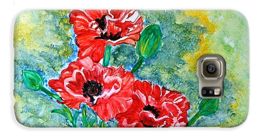 Poppies Flowers Red Yellow Green Blue Acrylic Watercolor Yupo Elegant Landscape Galaxy S6 Case featuring the painting Elegant Poppies by Manjiri Kanvinde