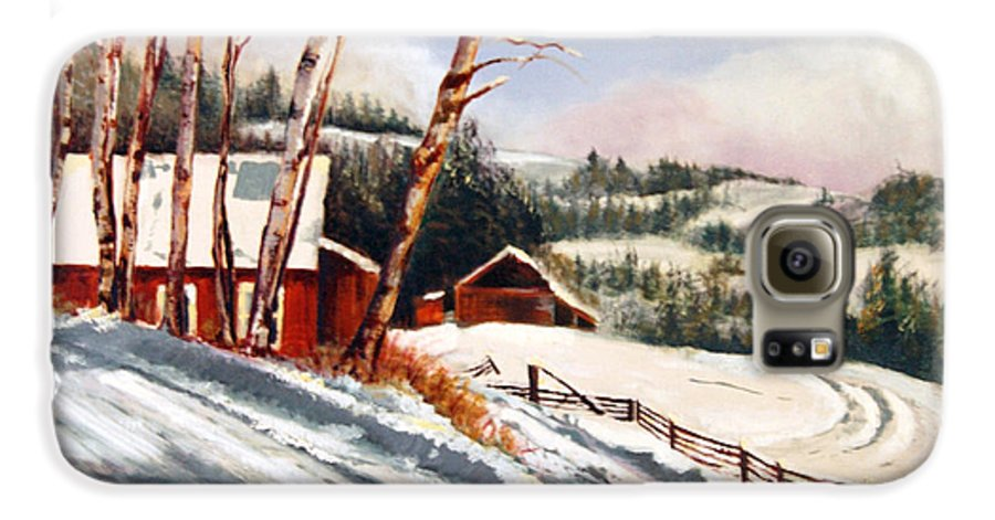 Snow Galaxy S6 Case featuring the painting Elephant Mountain Ranch by Susan Moore