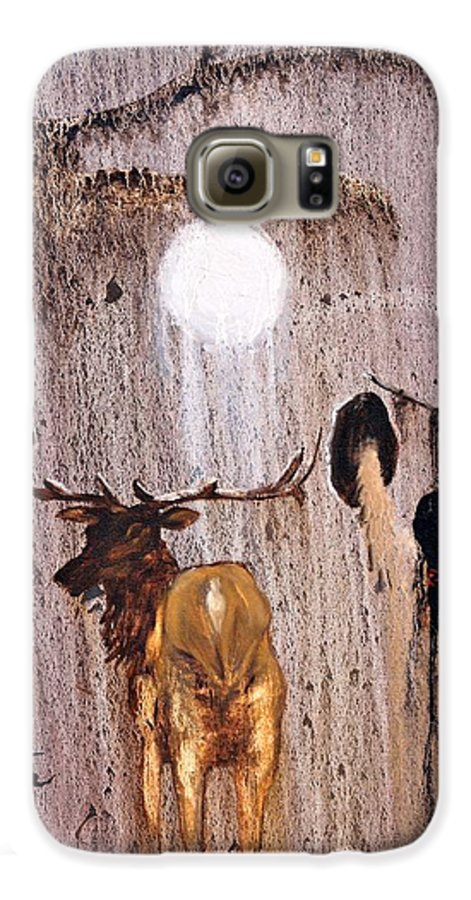 Native Art Galaxy S6 Case featuring the painting Elk Spirit by Patrick Trotter