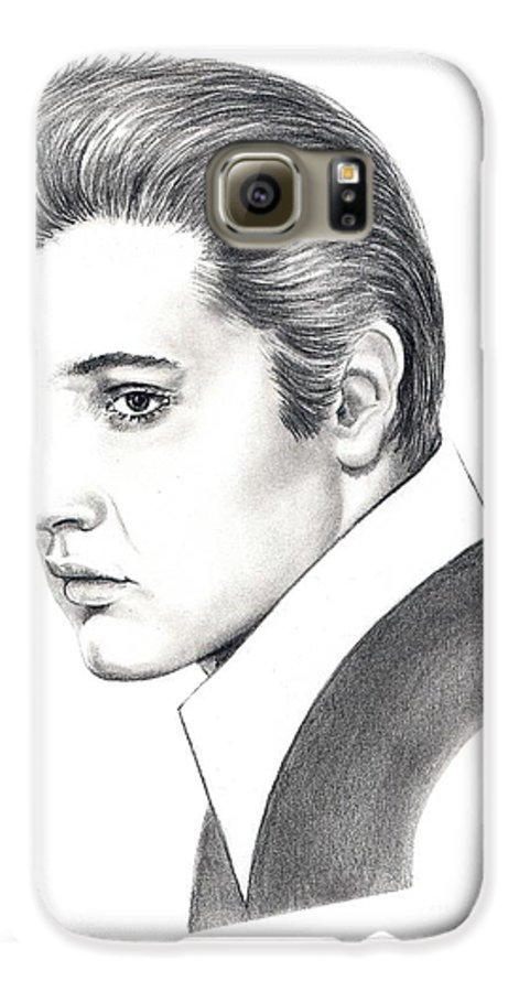 Pencil. Portrait Galaxy S6 Case featuring the drawing Elvis Presley by Murphy Elliott