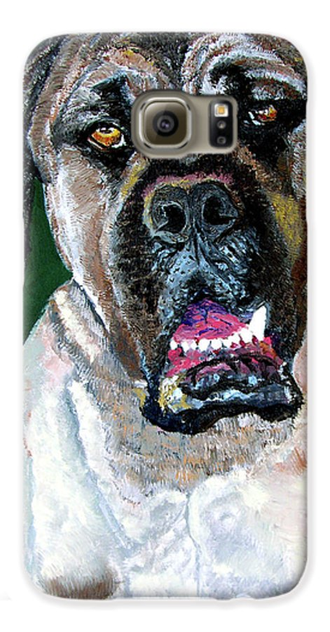 Dog Portrait Galaxy S6 Case featuring the painting Ely by Stan Hamilton