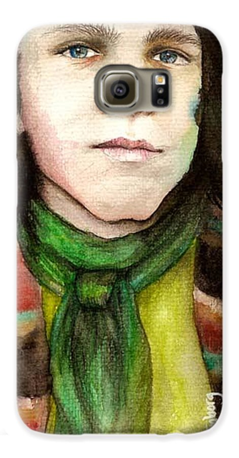 Boy Galaxy S6 Case featuring the drawing Emil by Freja Friborg