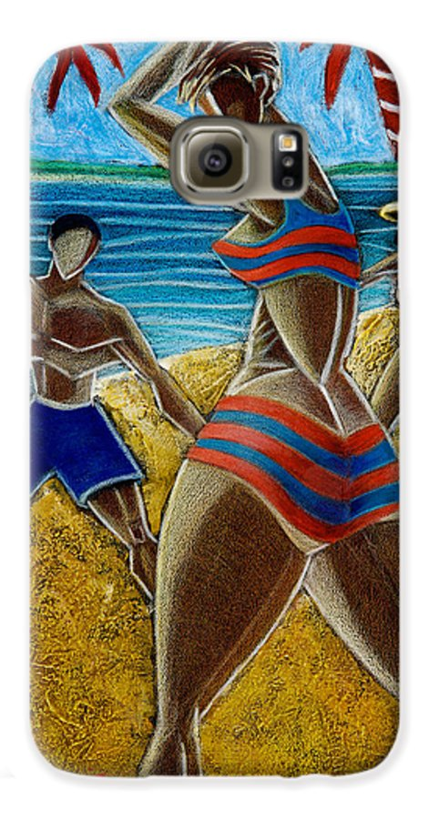 Beach Galaxy S6 Case featuring the painting En Luquillo Se Goza by Oscar Ortiz