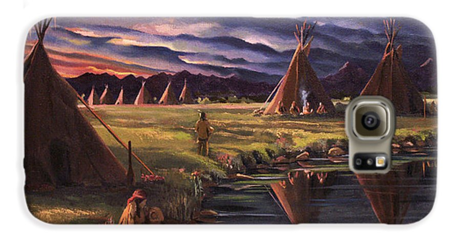 Native American Galaxy S6 Case featuring the painting Encampment At Dusk by Nancy Griswold