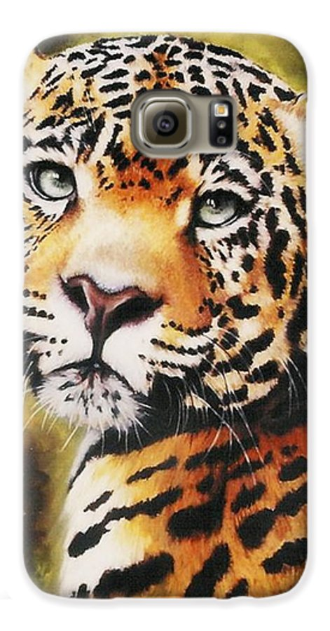 Jaguar Galaxy S6 Case featuring the pastel Enchantress by Barbara Keith