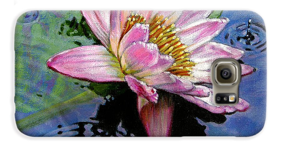 Water Lily Galaxy S6 Case featuring the painting End Of Summer Shower by John Lautermilch