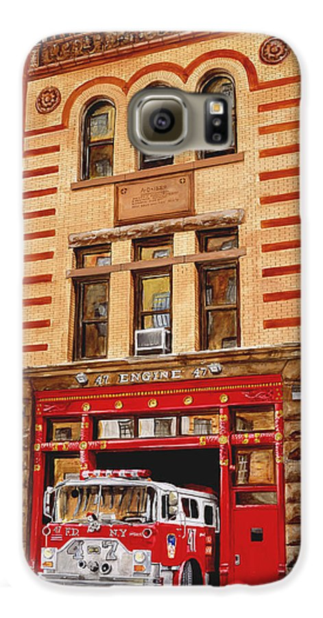 Firehouse Galaxy S6 Case featuring the painting Engine Company 47 by Paul Walsh