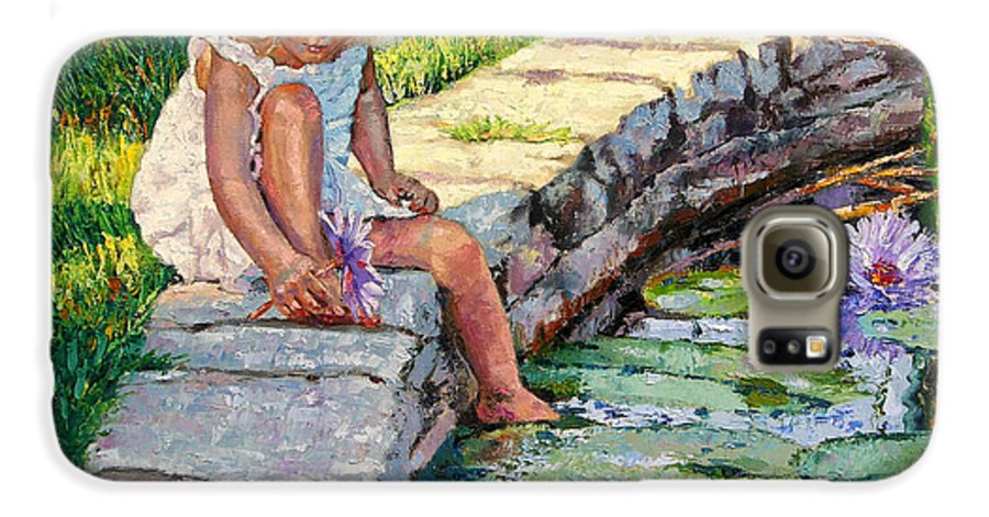 Small Girl Galaxy S6 Case featuring the painting Enjoying Yesterdays Sunlight by John Lautermilch