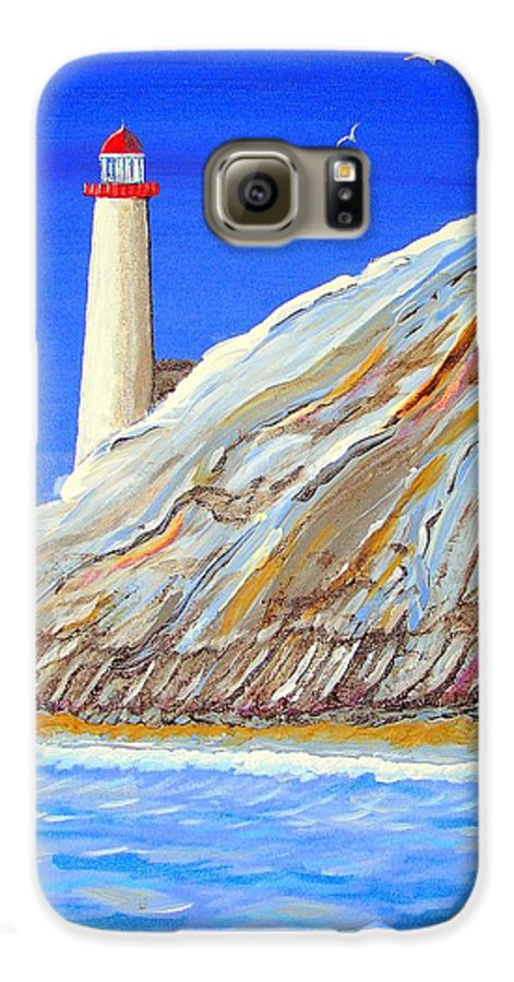 Lighthouse Galaxy S6 Case featuring the painting Entering The Harbor by J R Seymour
