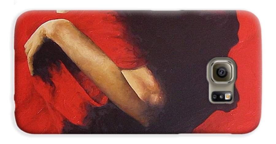 Oil Painting Original Canvas Linen Nude Figurative Traditional Realistic Galaxy S6 Case featuring the painting Entrapped by Trisha Lambi