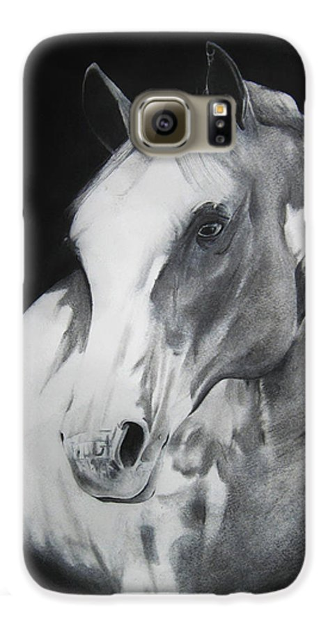 Horse Galaxy S6 Case featuring the drawing Equestrian Beauty by Carrie Jackson