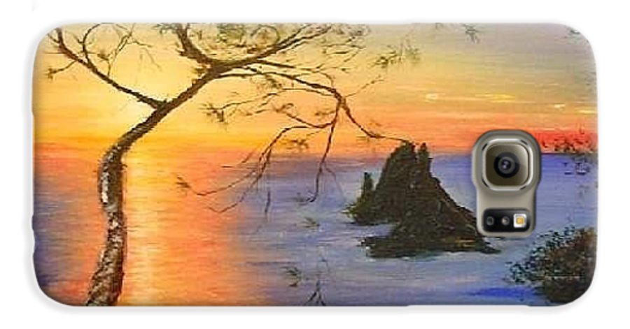 Sunset Galaxy S6 Case featuring the painting Es Vedra Island Off Ibiza South Coast by Lizzy Forrester