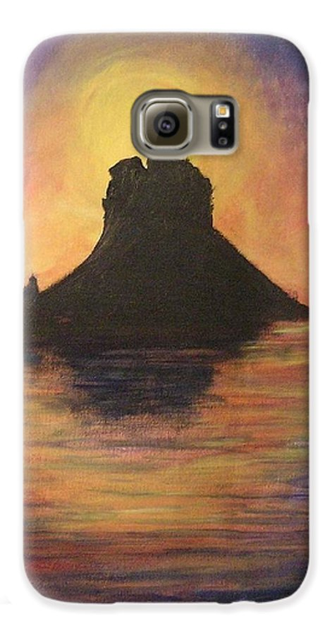 Sunset Galaxy S6 Case featuring the painting Es Vedra Sunset I by Lizzy Forrester
