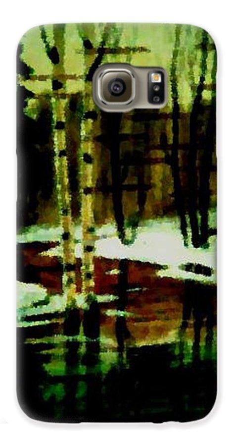 Sprig.forest.snow.water.trees.birches. Puddles.sky.reflection. Galaxy S6 Case featuring the digital art European Spring by Dr Loifer Vladimir