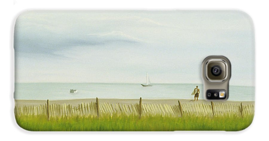 Seascape Galaxy S6 Case featuring the painting Evening At Cape May by Lea Novak
