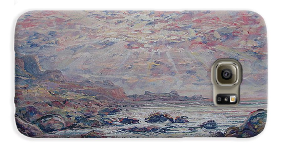 Seascape Galaxy S6 Case featuring the painting Evening At The Beach by Leonard Holland