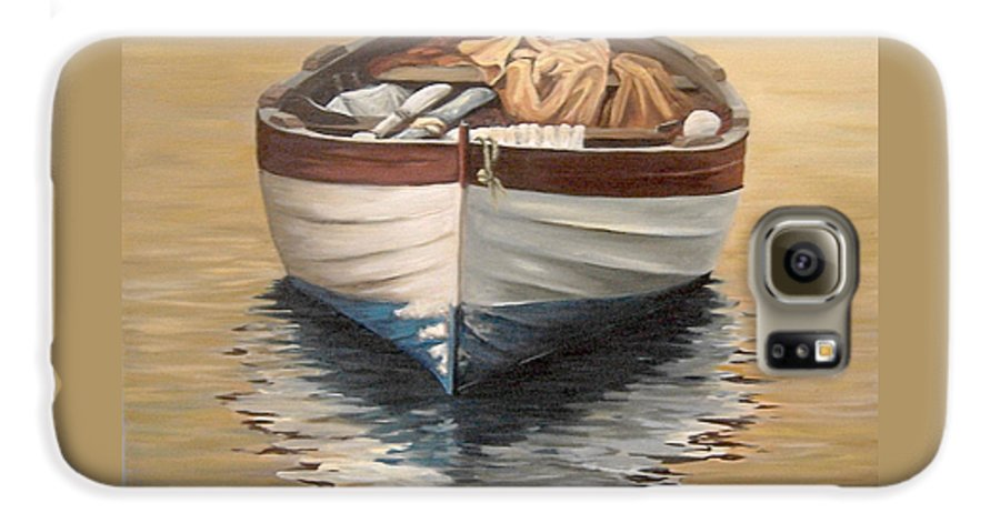 Boats Reflection Seascape Water Galaxy S6 Case featuring the painting Evening Boat by Natalia Tejera