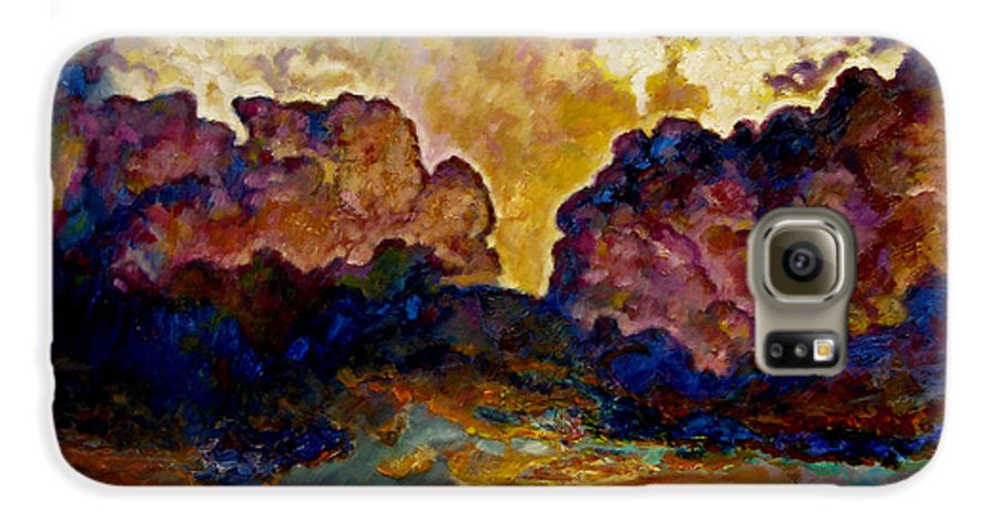 Sunset Galaxy S6 Case featuring the painting Evening Clouds Over The Valley by John Lautermilch