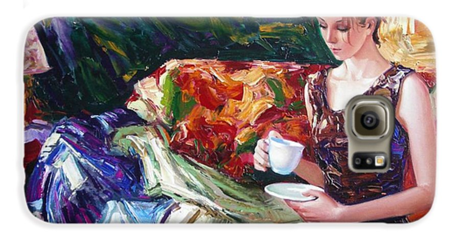Figurative Galaxy S6 Case featuring the painting Evening Coffee by Sergey Ignatenko