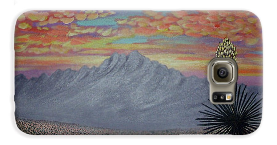 Desertscape Galaxy S6 Case featuring the painting Evening In The Desert by Marco Morales