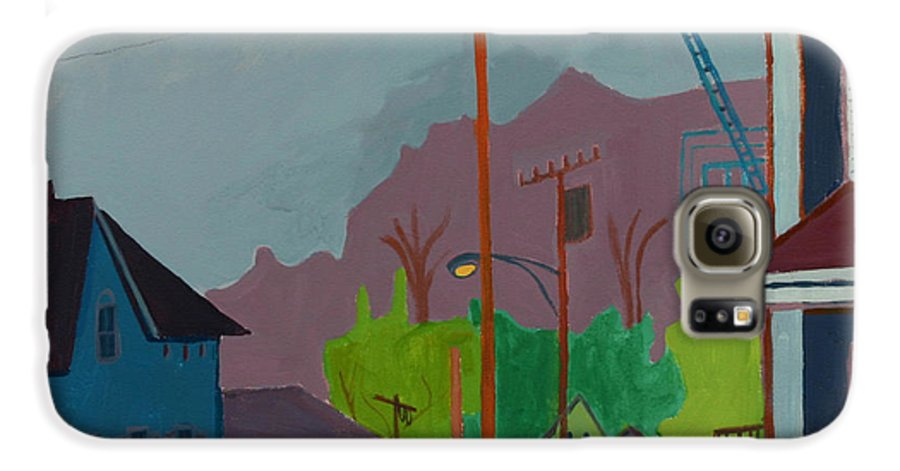 Town Galaxy S6 Case featuring the painting Evening In Town by Debra Bretton Robinson