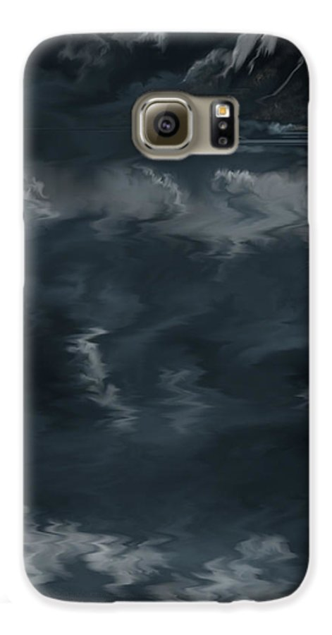Seascape Galaxy S6 Case featuring the painting Evening Lights And Rocks by Anne Norskog