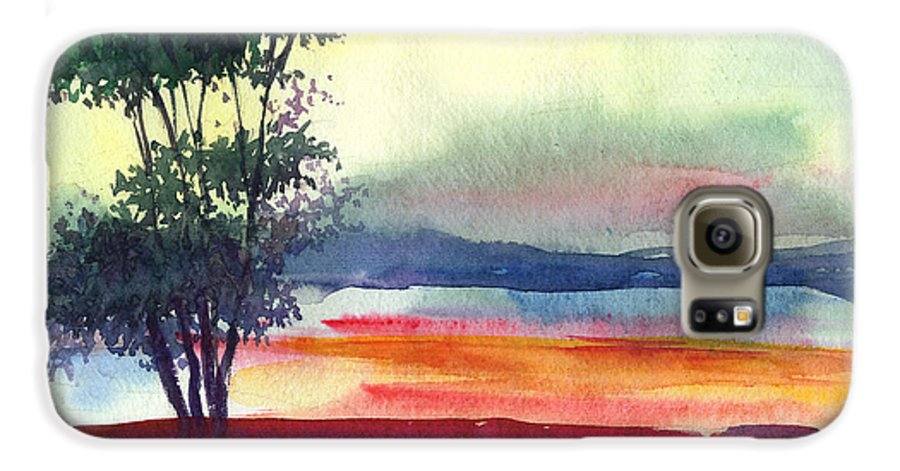 Water Color Galaxy S6 Case featuring the painting Evening Lights by Anil Nene