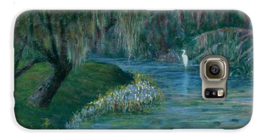 Low Country; Egrets; Lily Pads Galaxy S6 Case featuring the painting Evening Shadows by Ben Kiger