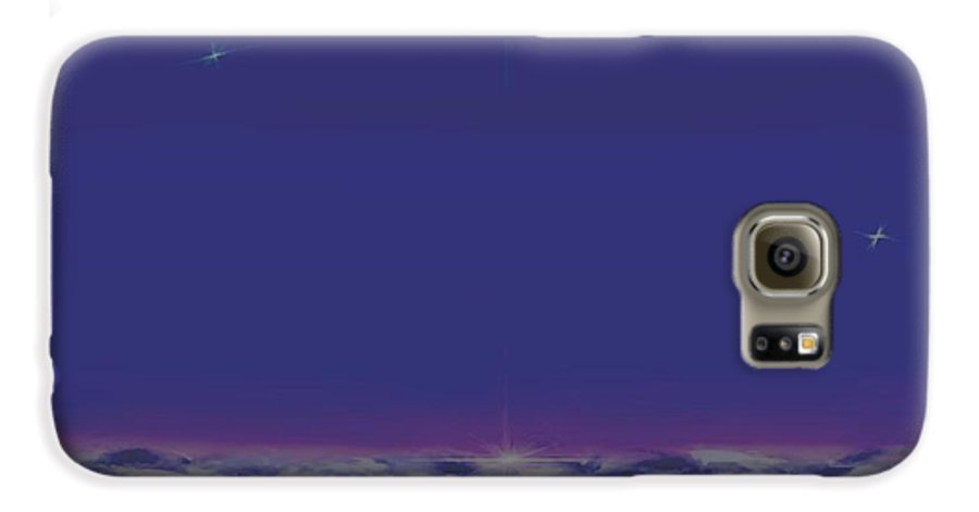 Late Evening.violet Dark Sky.rest.little Stars.last Ray Of Sun.sea.waves.silence. Birds.quiet. Galaxy S6 Case featuring the digital art Evening.birds by Dr Loifer Vladimir