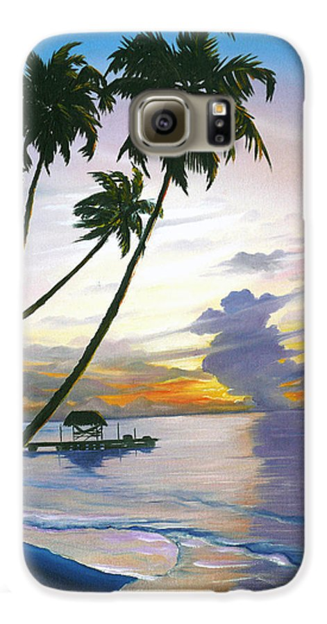 Ocean Painting Seascape Painting Beach Painting Sunset Painting Tropical Painting Tropical Painting Palm Tree Painting Tobago Painting Caribbean Painting Original Oil Of The Sun Setting Over Pigeon Point Tobago Galaxy S6 Case featuring the painting Eventide Tobago by Karin Dawn Kelshall- Best
