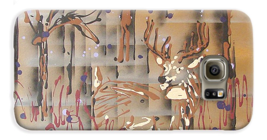 Buck In Tree Line Galaxy S6 Case featuring the painting Everwatchful by J R Seymour