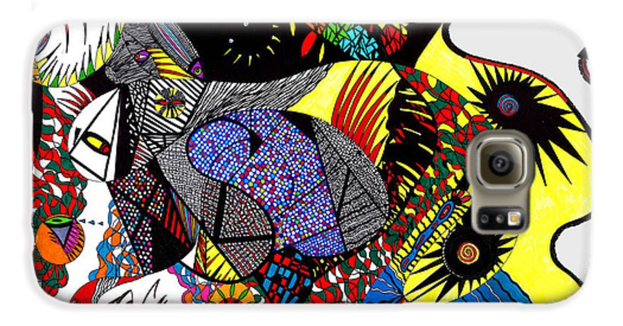 Psychedelic Galaxy S6 Case featuring the painting Evil Born by Safak Tulga