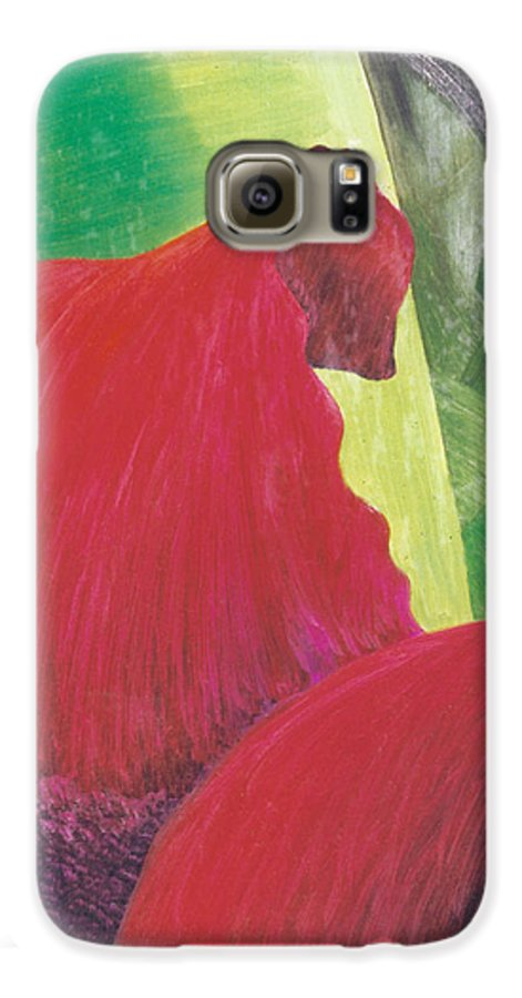 Red Galaxy S6 Case featuring the painting Expectations by Christina Rahm Galanis