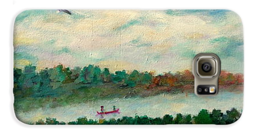 Canoeing On The Big Canadian Lakes Galaxy S6 Case featuring the painting Exploring Our Lake by Naomi Gerrard