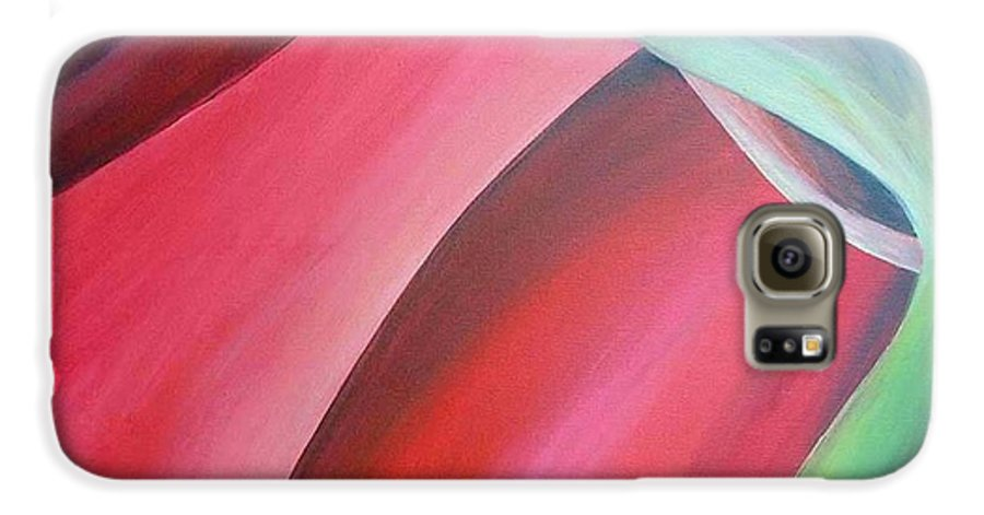 Flower Galaxy S6 Case featuring the painting Extrait by Muriel Dolemieux