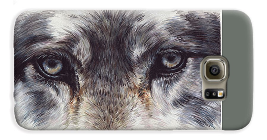 Wolf Galaxy S6 Case featuring the painting Eye-catching Wolf by Barbara Keith